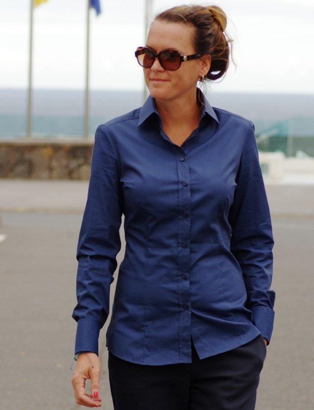 Navy blue business shirt for women