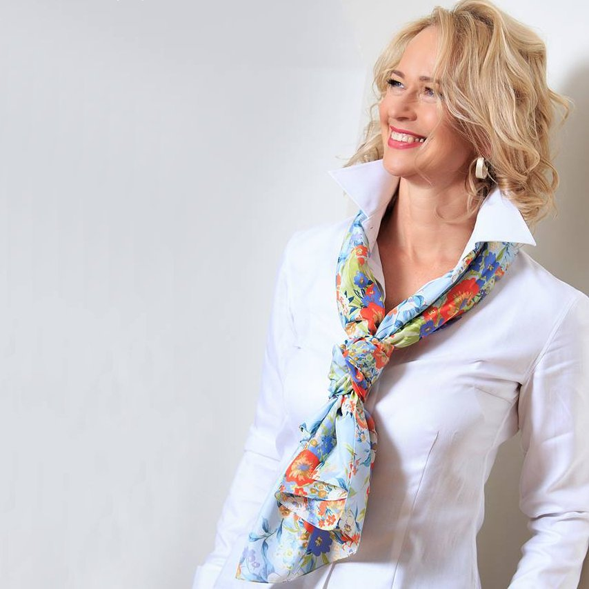 women's white blouse with scarf